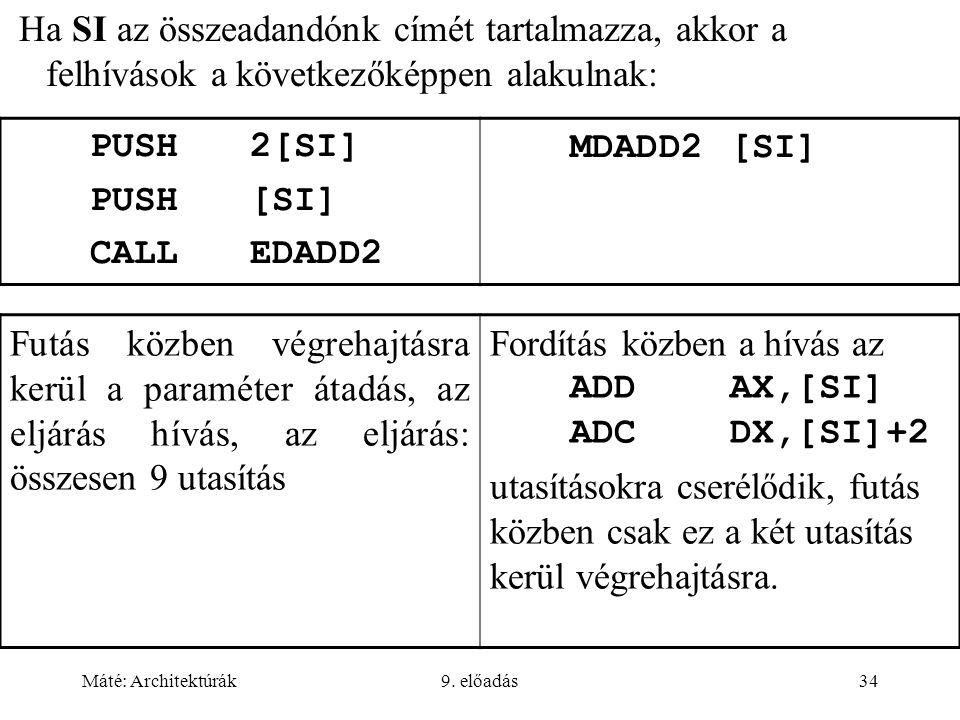 Fordítás közben a hívás az ADD AX,[SI] ADC DX,[SI]+2